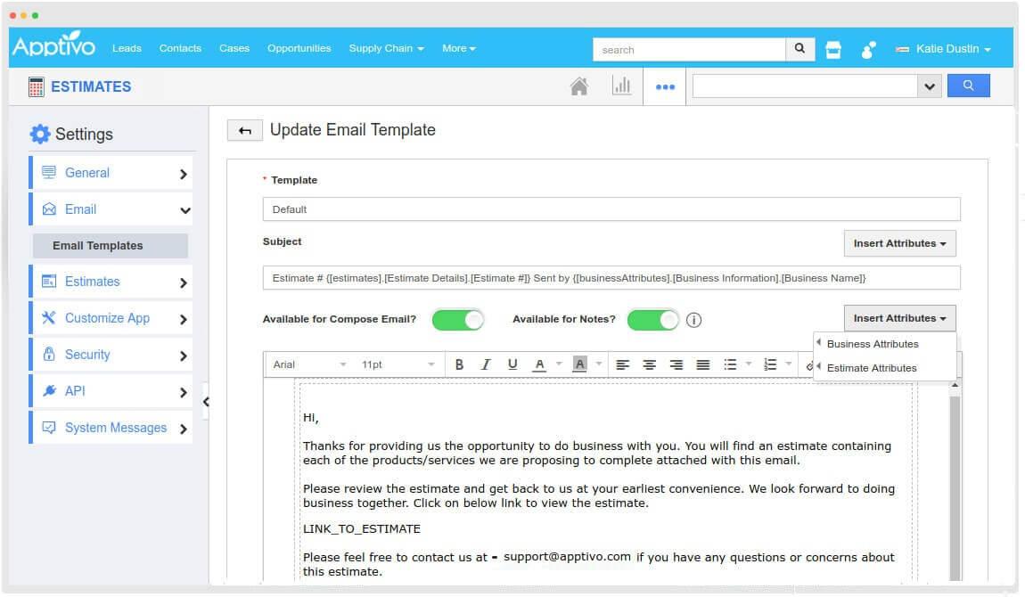 estimate email