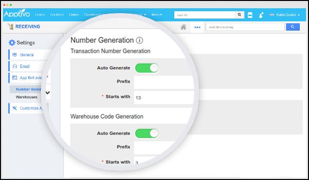 generate receipt warehouse code