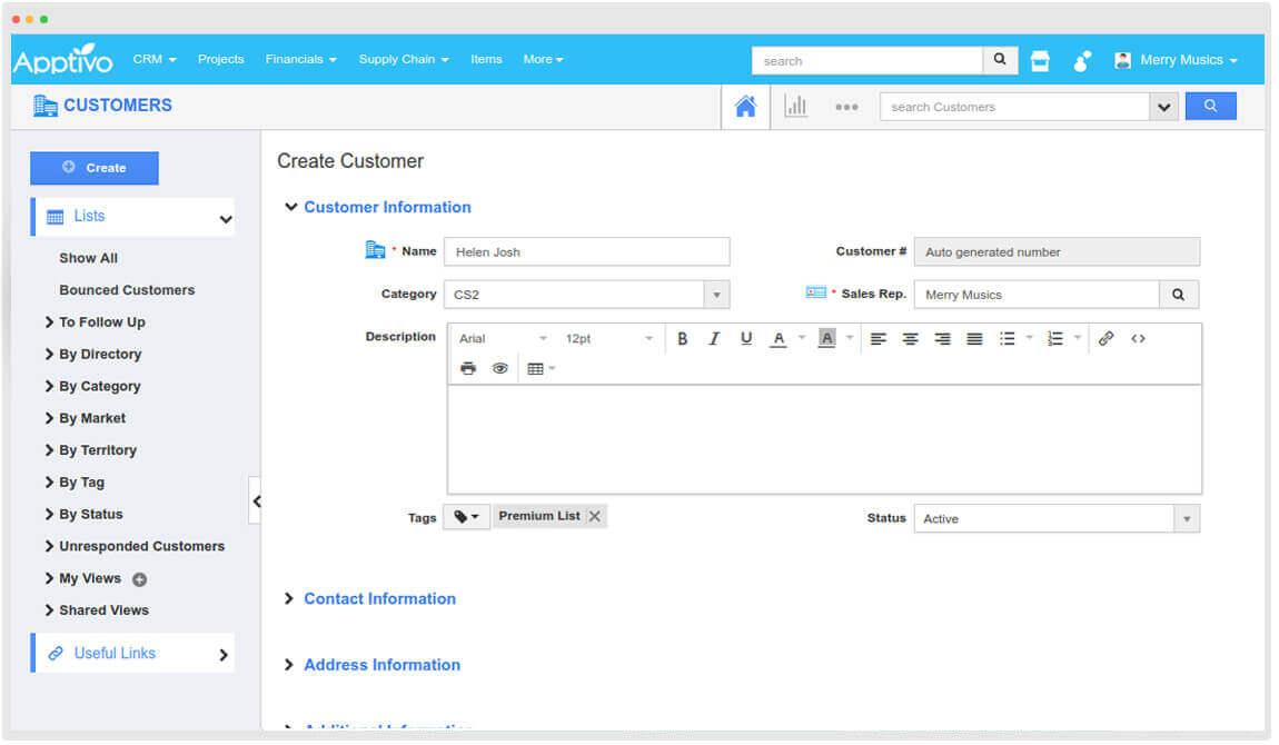 customer creation